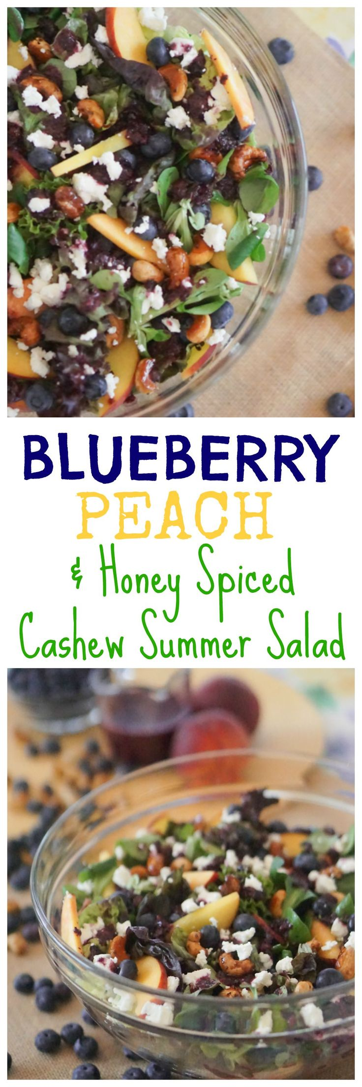 Add my yummy Blueberry, Peach & Honey Spiced Cashew Summer Salad recipe to your go-to salad recipe list! #BCBlueberries #ad