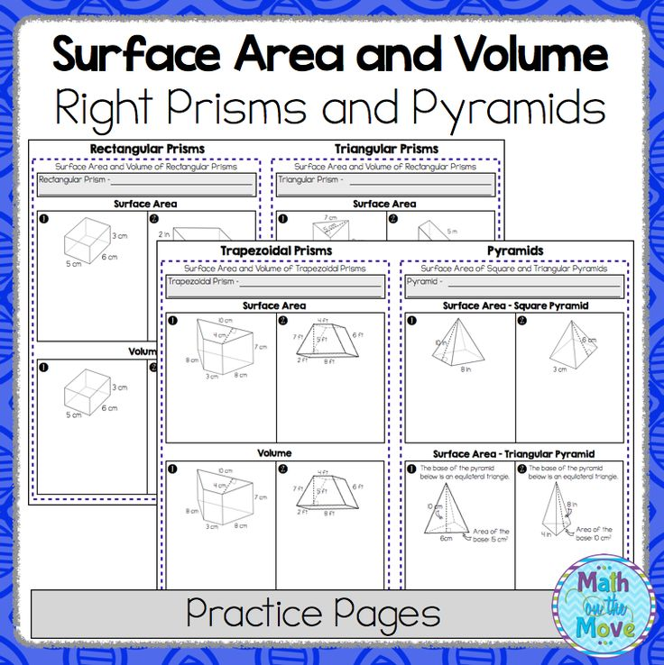 This set of worksheets can be used to introduce or review finding the surface…