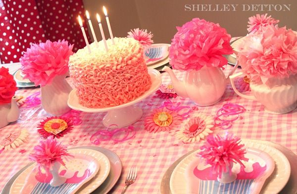 Pink tea party table.