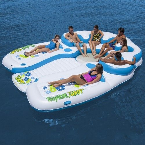 Sun Pleasure 7-Person Floating Tropical Tahiti Island (Blue) with Built-In Coolers