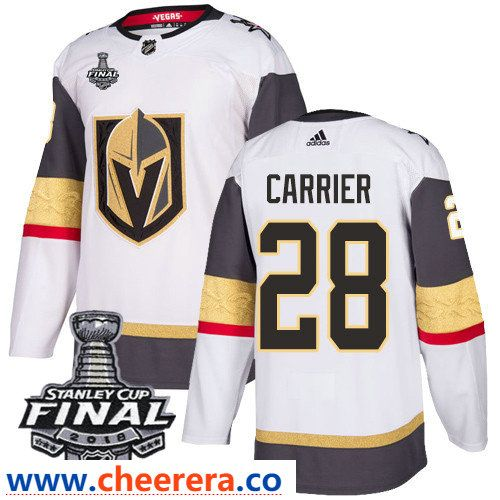 b1c5995e3 Vegas Golden Knights  28 William Carrier White Stitched Adidas NHL Away  Men s Jersey with 2018 Stanley Cup Final Patch