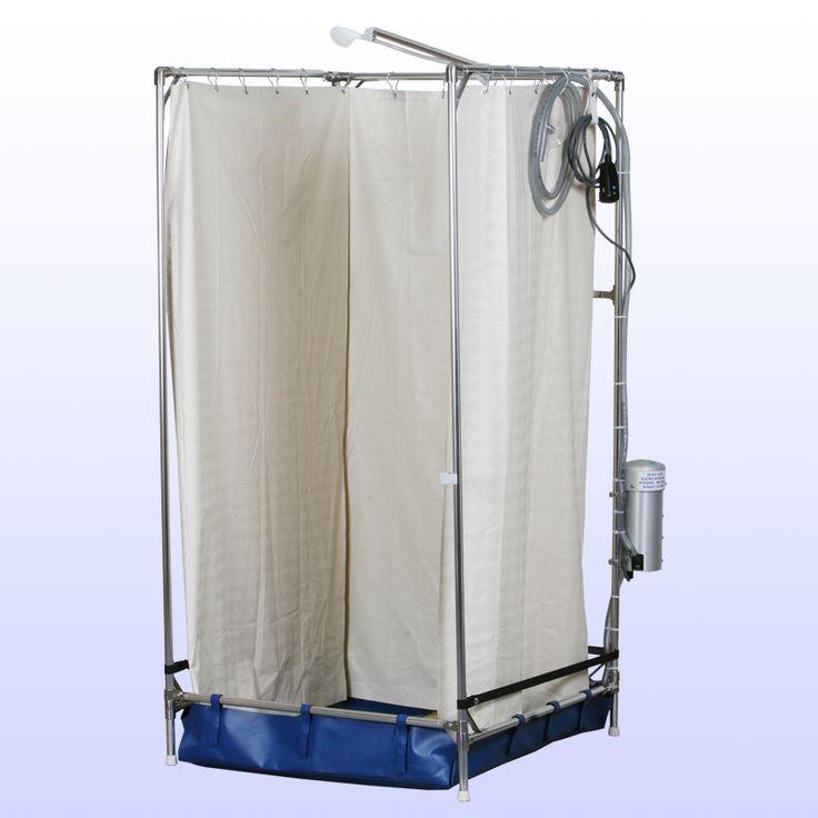 Elegant Temporary Shower In Basement