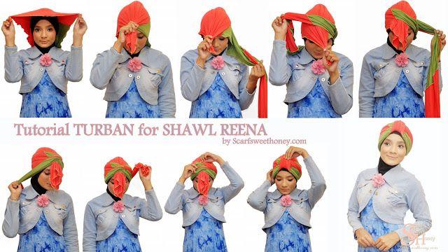 jilbab turban sederhana dua warna