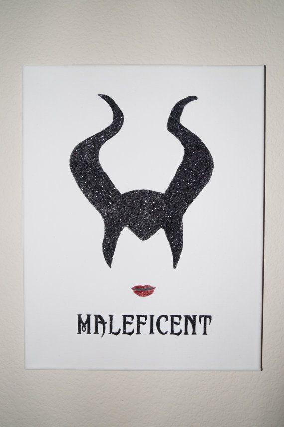 Disney Maleficent Black Glitter Silhouette by CCsArtBoutique