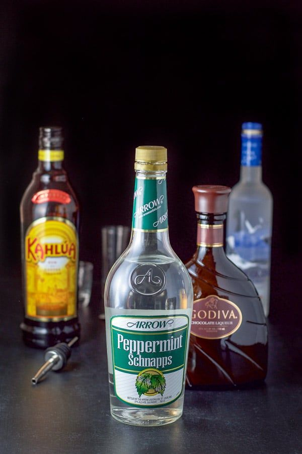 Peppermint Schnapps Kahlua Chocolate Liqueur And Vodka For The