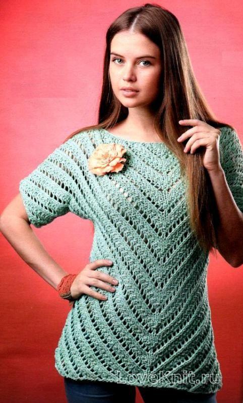 Схема спицами ажурный джемпер и шарф мятного цвета