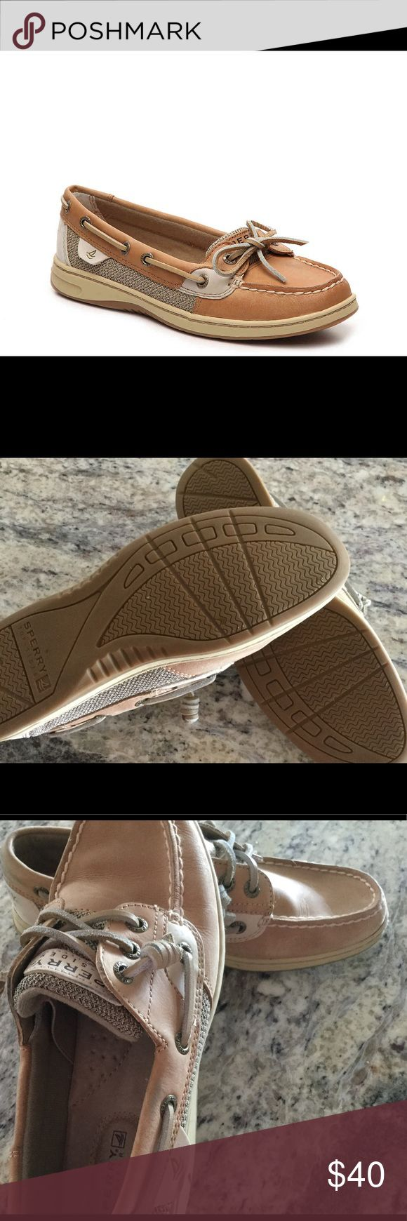 SPERRY ANGELFISH TOP SIDER Women's slip on leather Sperry Angelfish top sider. Canvas with fabric upper. Tan colored, with leather shoelaces. Hardly worn, no scuff marks, see bottom for wear, do not smell, smoke free. Excellent condition. Size 6.5 Sperry Top-Sider Shoes Flats & Loafers