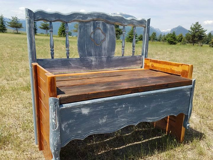 Barn Wood and Salvaged Bed Frame, Something Blue Photo Prop for New Baby, Shabby Chic Cottage Entryway Bench by TheBitterrootArtCo on Etsy
