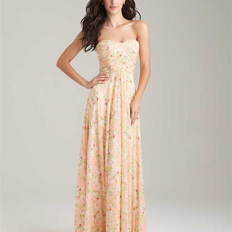 Style: 1491 - We can't resist the appeal of soft pastel blossoms patterned on a chiffon dress.