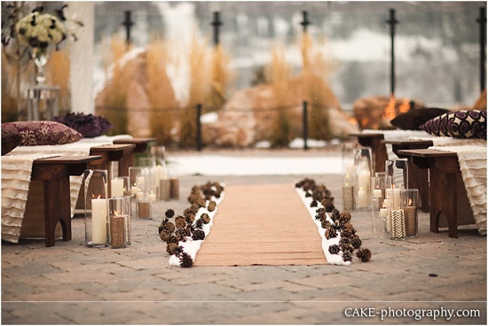 pine cones to line the isle for a winter wedding
