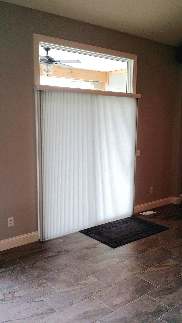 Sliding Panel Track Blinds: Vertical Cellular Shade On A Sliding Glass Door. This Is