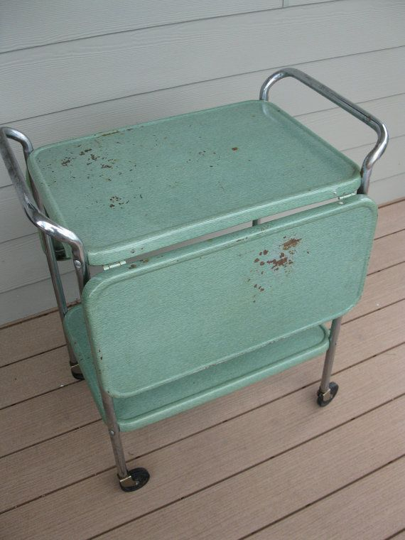 Vintage Cosco Metal Rolling Cart   2 Tier With Fold Down Sides  Bar Cart   Kitchen Cart Green Storage  Garage  Deck  Organizer Microwave Cart