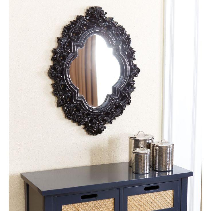 Abbyson Belvedere Black Resin Wall Mirror (Black)