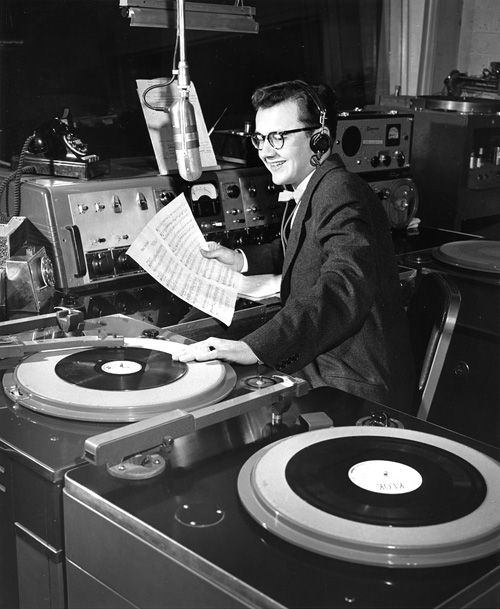 KLOK radio personality Frank Darien Jr. San Jose, California, circa 1950s.  Photograph by Arnold Del Carlo.Darien Jr, Radios Personalized, Frank Darien, Personalized Frank, About 1950S, Vinyls Records, Operation Vinyls, San Jose California, Klok Radios