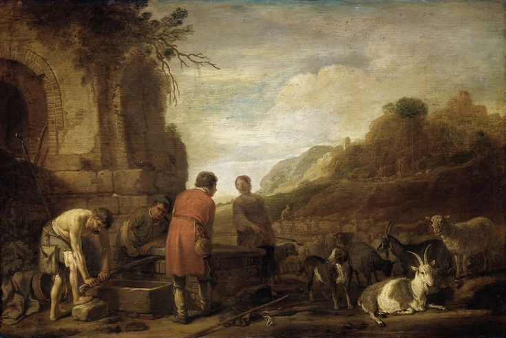 #31 Claes Cornelisz Moeyaert, Jacob Meets Rachel, c. 1638. On loan from the Rijksmuseum, Amsterdam.  Moeyaert created a striking ambiance in his painting. We see warm beams of evening sunlight falling diagonally on the ruins and highlighting the arched backs of the men and the animals. The Italianate landscape in the background basks in the same limpid light. Moeyaert spent a couple of years in Rome studying classical art, following the example of Tengnagel, and also of Pieter Lastman.