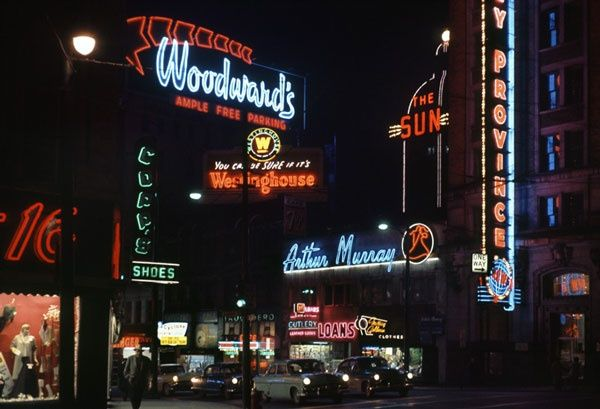 Arthur Murray, the old Sun building, Woodwards, etc. Hastings Street, Vancouver 1960