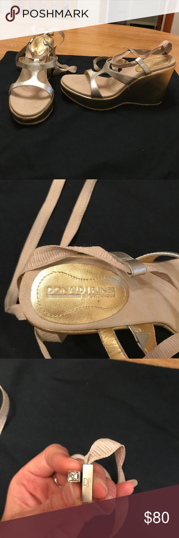 Donald J Pliner Wedge Sandal Gold wedge heel with wrap around the ankle lace. Diamond detail in the end part of the lace. Donald J. Pliner Shoes Sandals