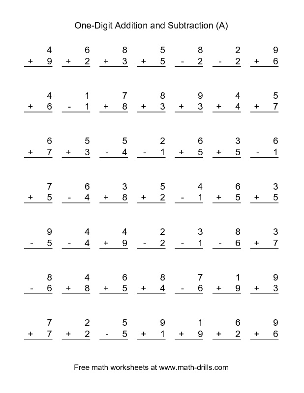 1000+ ideas about Subtraction Worksheets on Pinterest | Math ...The Adding and Subtracting Single-Digit Numbers (A) math worksheet from the Mixed Operations Worksheet page at