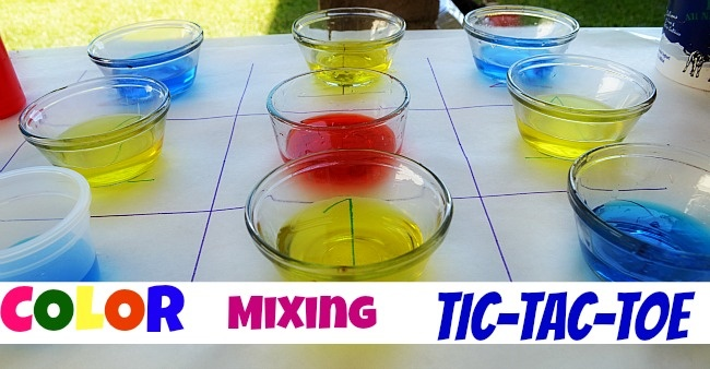 Can't decide if I should pin this to 'art' or 'play' or 'science' boards! Great for all 3! Color mixing tictactoe game from blog me mom - genius idea!