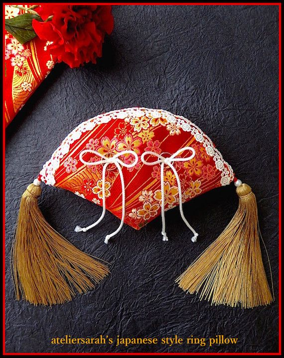 Red fan-shaped Japanese style ring pillow