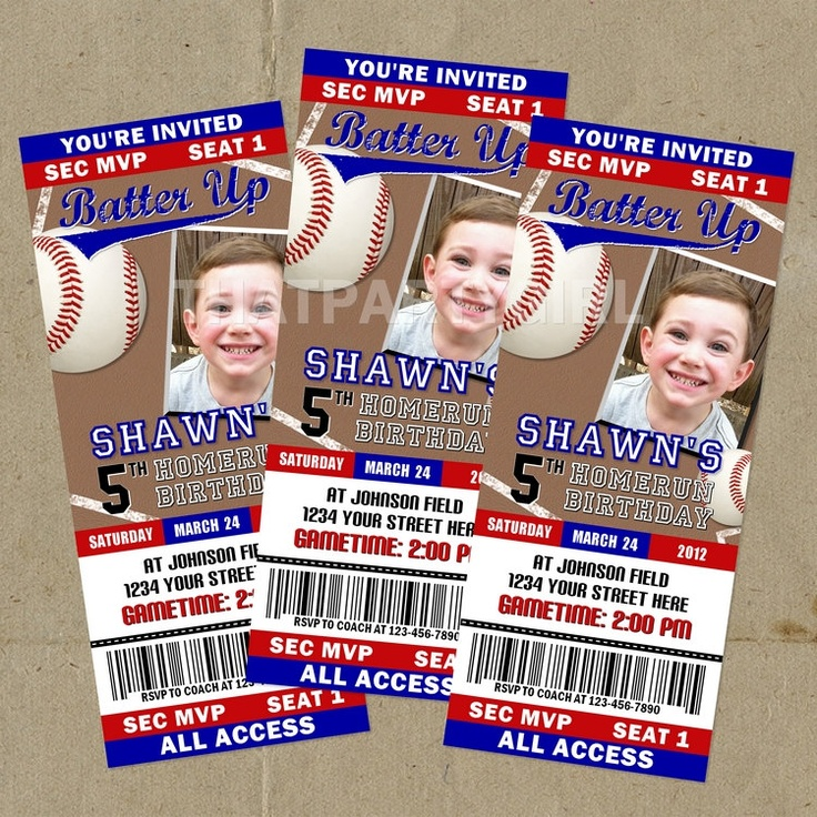 baseball birthday party | DIY Baseball Birthday Party Ticket Style Invitations - Digital U Print