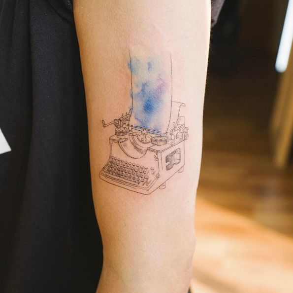 Typewriter tattoo by Sol Art