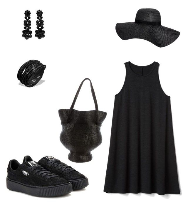 """# black out"" by andrea-jones-4 ❤ liked on Polyvore featuring Gap, Boohoo, Simone Rocha, Rosie Assoulin and Puma"