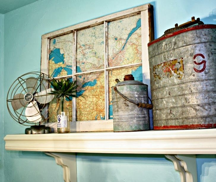 Tip from authors: Attach the map to some foam core that has been trimmed to the window pane. Then use glazing points or nails to secure the foam core map into the window. It doesn't damage the integrity of the window in the event you want to change it.
