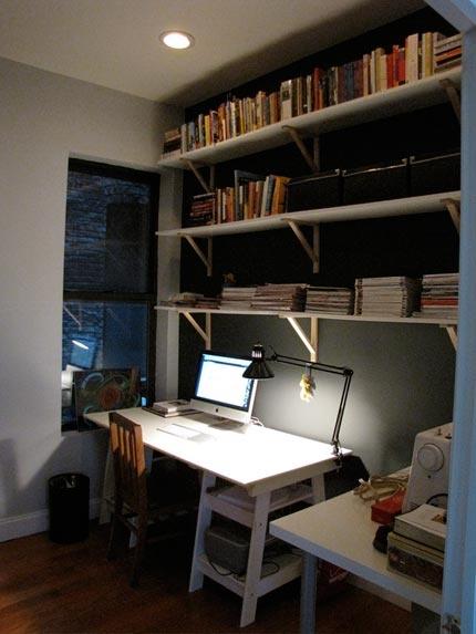 Desk + shelves