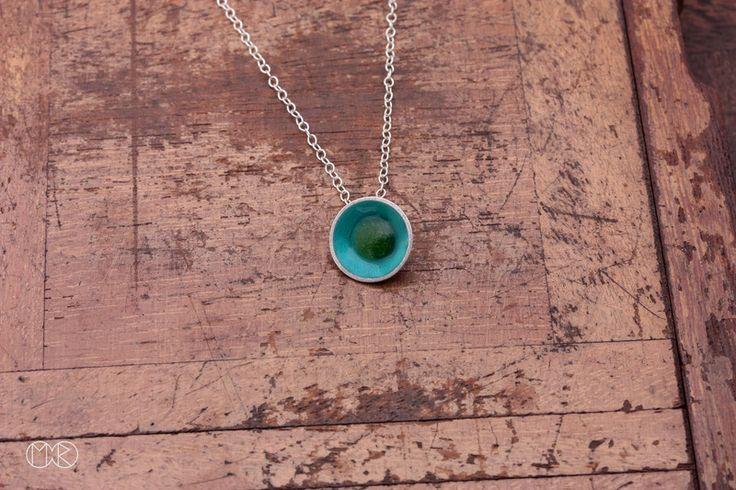 Halskette silber mit emaille SIMPLE 25 von MartaRudnicka auf DaWanda.com