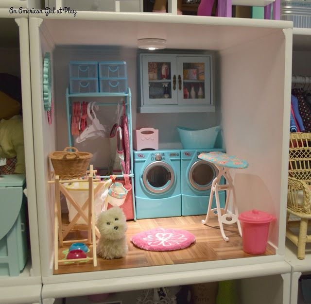 An American Girl at Play: Laundry Room  Remodel -- updated from pink to aqua.