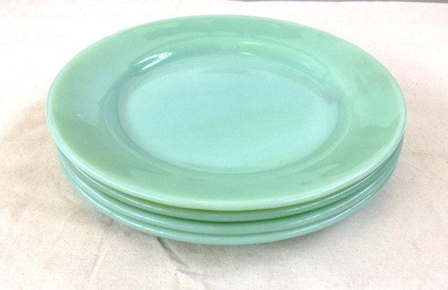 "Set of four JADEITE  FIRE KING plates. 9"" Heavy weight and oven safe. Aqua, Seafoam, Green, Dinnerware, wedding present, gift"