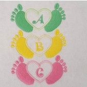 I found this Embroidery Design for only: $4.00 on aStitchaHalf.com! Little Toes in Heart with complete Alphabet includes 27 Designs of those cute little baby feet. Decorate their tiny clothes and accessories with these designs.You Receive:27 x DesignsStitch Count:4135 to 4668