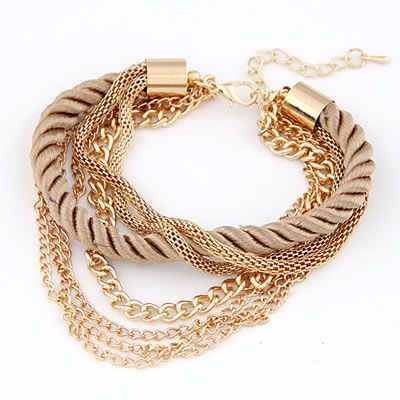 Disposable Gold Color Luxury Multilayer Weave Alloy Korean Fashion Bracelet