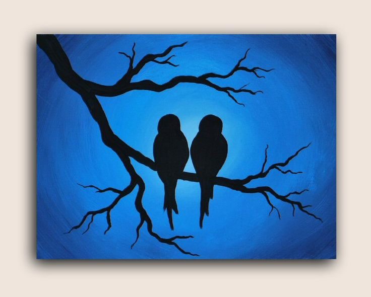 """Acrylic silhouette painting on canvas """"Love Birds"""" Video Available: http://youtu.be/CqDD-PfObTA #AcrylicPainting #AcrylicPaintingOnCanvas #LoveBirds #Silhouette #SilhouettePainting"""