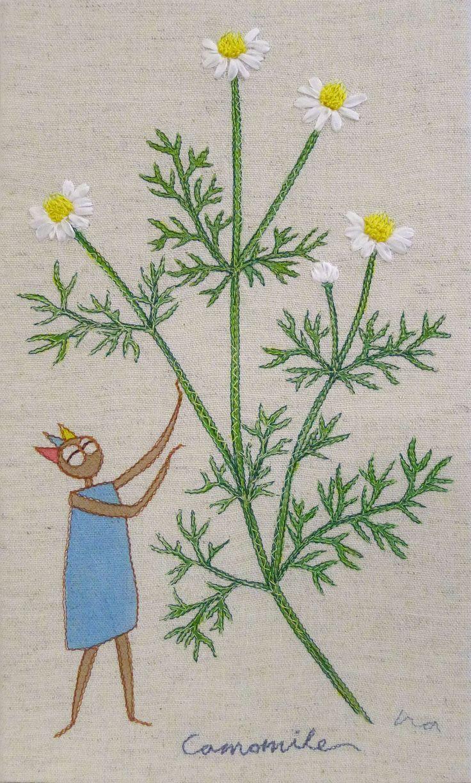 """herb no.3 """"camomile"""" needlework illustration Ⓒ Nagako Ono HAPPa_Ya #embroidery #herbs"""