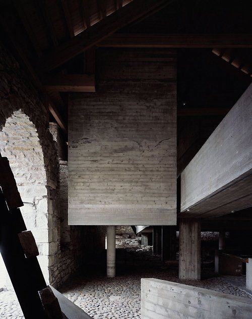 1978, Sverre Fehn: Hedmark County Museum (renovation of a historic barn and medieval castle grounds), Hamar, Norway. (photos: Helene Binet)