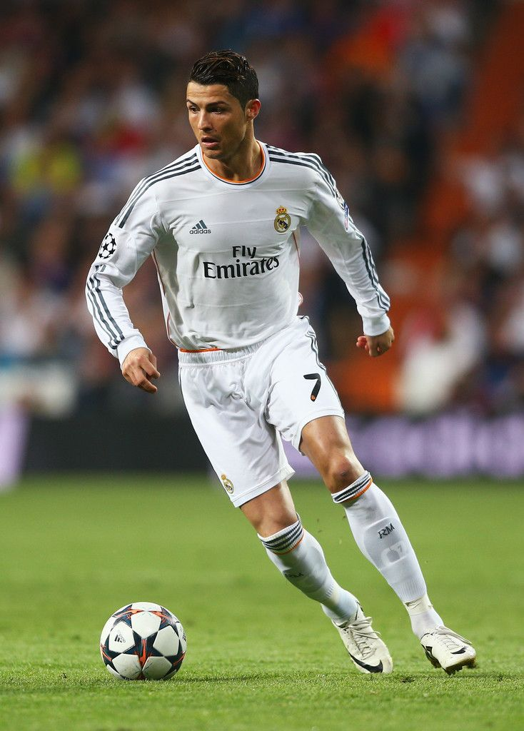 Cristiano Ronaldo in action during the UEFA Champions League semi-final first leg match between Real Madrid CF and FC Bayern München at Estadio Santiago Bernabéu on April 23, 2014 in Madrid, Spain.