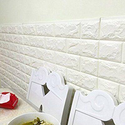 Injersdesigns Wall Art 3D 23,6 '' x 23,6 '' PE Foam pannelli per pareti TV / divano sfondo parete decorazione bianco mattoni carta da parati (1pcs)