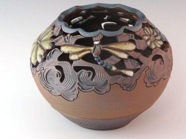 Vase With Dragonflies, Flowers, And Swirl Design. $24.00, via Etsy.Swirls Design