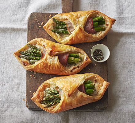 Creamy asparagus puffs. Pastry parcels with smoked ham, cream cheese and seasonal green veg. Serve with a crisp side salad