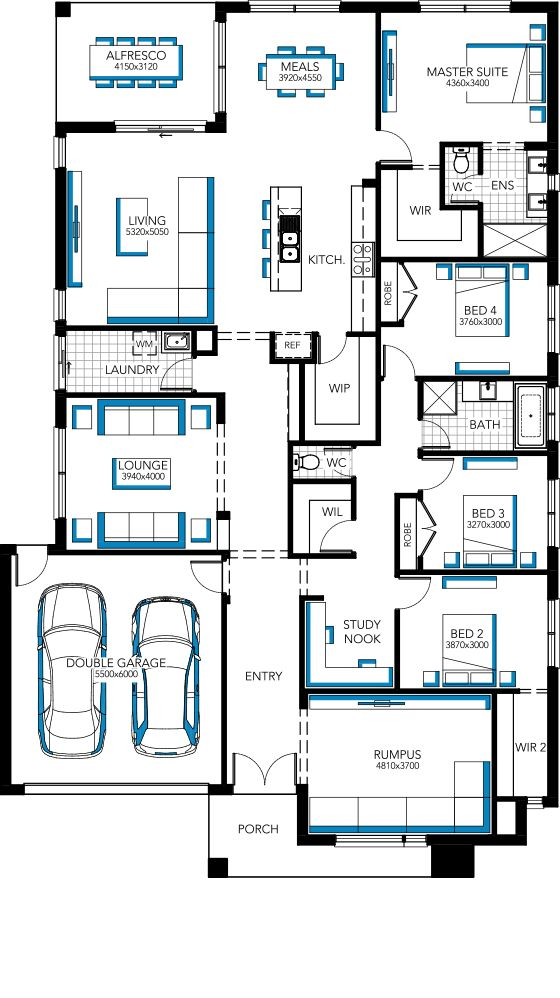 Get rid of the rumpus and turn bed2 into a study. Home Designs & House Plans, Melbourne | Carlisle Homes. Sacramento Retreat