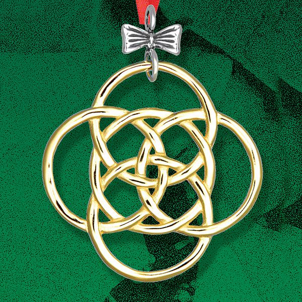 Hand and Hammer Five Golden Rings Silver Christmas Ornament