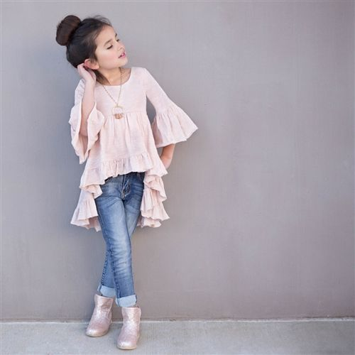 Joyfolie – Amelia Peasant Boho Top in Blush
