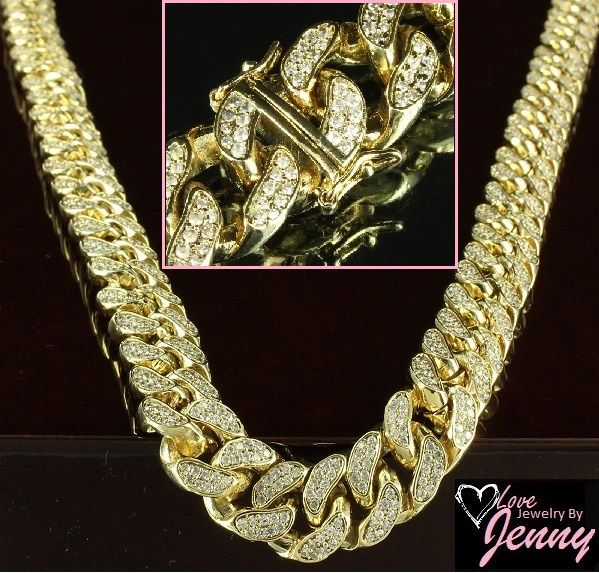 14k Yellow Gold Overlay Iced Out Simulated Diamond Miami