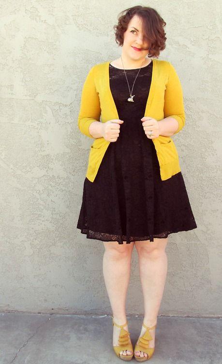 black dress, gold cardigan