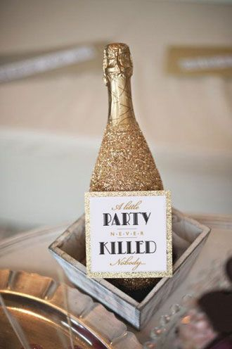 Gatsby Birthday Party Printables by I Heart to Party - glitter champagne bottles, though