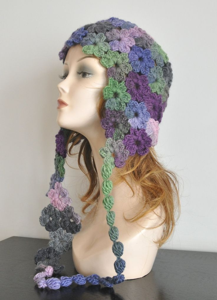 AURORA - Purple Green Gray - Crochet Multicolor Flower Adult Hat by jennysunny on Etsy