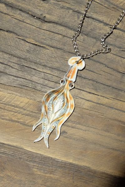 Vintage squid necklace by Little Rat's Boutique. #handmade #diy #jewellery #jewelry #vintage #etsy #squid #sealife