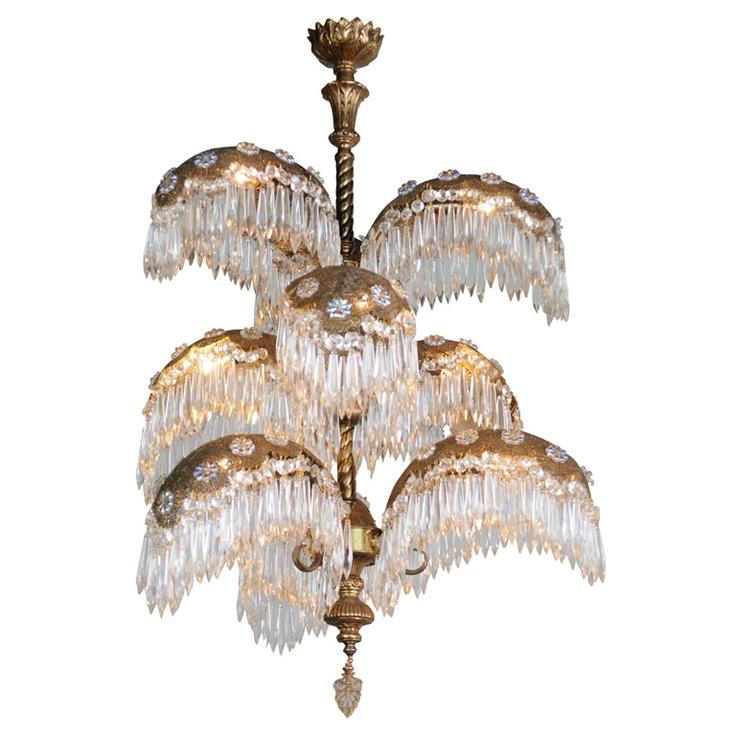 italian art deco 9 light palm tree chandelier 1940u0027s